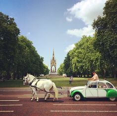 Deux Chevaux is a public art performance by William Mackrell consisting of two horses pulling a two-horse power car (Citroen 2CV) through the Boroughs of Kensington, Chelsea and Westminster, stopping at 9 local cultural landmarks on the 21st June.