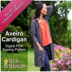 Since the well-loved cardigan pattern Lisbon was born, you have been asking for a V-neck cardigan. That's why I am bringing you the Aveiro Cardigan pattern! Sewing Patterns Free, Clothing Patterns, Dress Patterns, Sewing Hacks, Sewing Tutorials, Sewing Tips, Sewing Box, Sewing Ideas, Flat Felled Seam