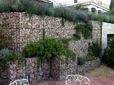 gabion retaining wall with planter boxes