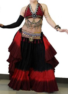 tribal bellydance double drape halter top tribal belt tribal 4 tier skirt with 2 tone bottom color 25 yards Tribal Costume, Red Costume, Belly Dance Outfit, Belly Dance Costumes, Tribal Skirts, Tribal Belly Dance, Gypsy Skirt, Tribal Fusion, Dance Fashion