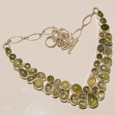 .925 Sterling silver beautiful natural prehanite Necklace n341 81gm #Handmade #Necklace