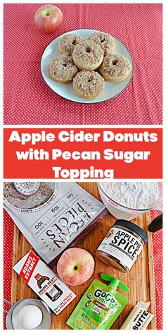 Grab everything you need and make these Apple Cider Donuts with Pecan Sugar Topping. #apples #pecans #donuts   Fall Recipes   Donut Recipes   Pecan Recipes   Apple Recipes   Apple Cider Recipes