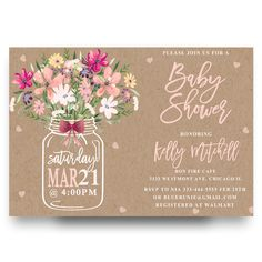 mason jar baby shower invitation, mason jar flower, flowers, floral, burlap, kraft paper, pink bow, colorful flowers