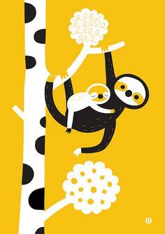 Best unique funny gift tshirt ideas for Sloth lover Sloth owners. slowness, sluggishness, do-nothingness Illustration Mignonne, Art Et Illustration, Character Illustration, Animal Illustrations, Ouvrages D'art, Grafik Design, Art Design, Illustrators, Screen Printing