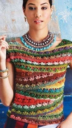 Crochet gypsy style blouse ♥LCT-MRS♥ with diagram --- вязание крючком, схема, топ