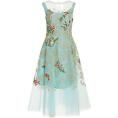 Oscar de la Renta Embroidered Tulle Dress (147.705.780 VND) ❤ liked on Polyvore featuring dresses, vestidos, short dresses, oscar de la renta, aquamarine, embroidered dress, short green dress, oscar de la renta dresses, tulle dress and embroidered mini dress