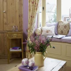 Touch of purple in a lovely window seat