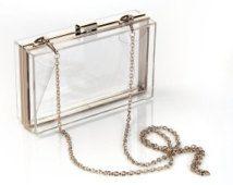 Transparent acrylique Clutch, embrayage de mariée, pochette de soirée, sac à main sac à main sac à bandoulière chaîne