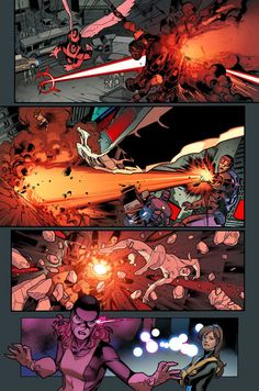 All-New X-Men by Brian Michael Bendis & Stuart Immonen here! How would you fight a Sentinel? Comic Book Layout, Comic Books Art, Marvel Comic Universe, Comics Universe, Stuart Immonen, Xmen Comics, Comic Frame, Scarlet Witch Marvel, Comic Art Community