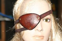 Leather Steampunk Eye patch with gear carving