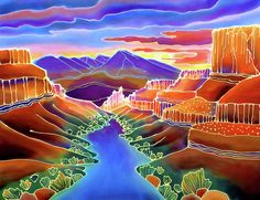 Canyon Waterfall Art Print by Harriet Peck Taylor. All prints are professionally printed, packaged, and shipped within 3 - 4 business days. Sunrise Painting, River Painting, Silk Painting, Painting Art, Fine Art Amerika, Southwestern Art, Southwestern Paintings, Batik Art, Canvas Art