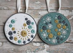 Hand embroidered hoop art set.