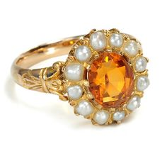 Pearl and Citrine Ring, circa 1890