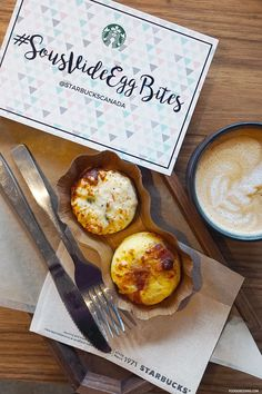"Meet Starbucks Sous Vide Egg Bites - perfectly cooked, cage-free eggs prepared using the French ""sous vide"" technique. The Sous Vide Egg Bites were Easy Egg Recipes, Egg Recipes For Breakfast, Breakfast Ideas, Starbucks Sous Vide Eggs, Canada, Cooking, Healthy, Giveaways, Awesome"