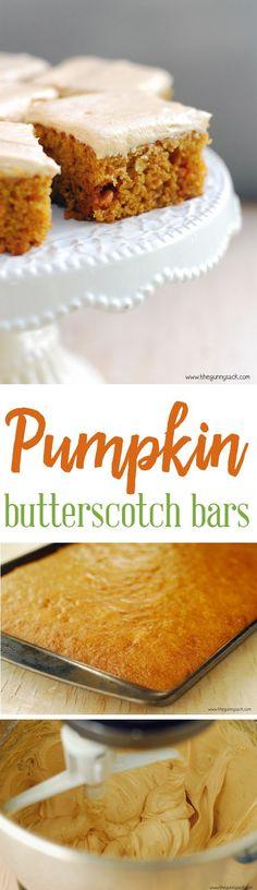 Pumpkin Butterscotch Bars with Butterscotch Cream Cheese Frosting