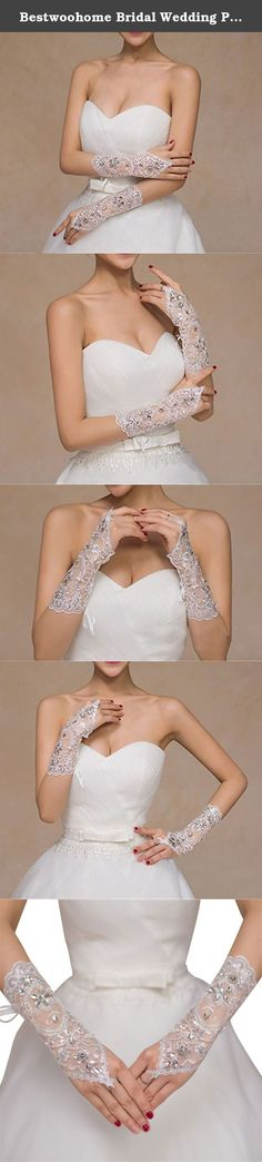 Bestwoohome Bridal Wedding Prom Fingerless Lace Gloves with Rhinestone Sequins. Shinning beading and soft sequin detail attached lace makes these already feminine satin gloves look more charming and eye-catching. Best match dresses: a-line, ball gown, princess, sheath/ column, trumpet/mermaid, wedding party, cosplay, other special occasions etc. Made of high quality satin lace, bright, smooth easy keeping. Graceful lace and shining sequined design definitely makes you look more charming…