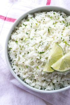 Cilantro-Lime Coconut Rice The only way to eat rice! Cooked in coconut milk and loaded with fresh cilantro and lime zest! Ultimate side to any meal Cooking With Coconut Milk, Coconut Milk Recipes, Coconut Rice, Jasmine Rice Recipes, Lemon Rice, Mexican Food Recipes, Vegetarian Recipes, Cooking Recipes, Side Dishes