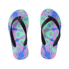 Abstract Colorful Symmetric Pattern Kid's Flip Flops Girls Flip Flops, Flipping, Big Kids, Keep It Cleaner, Slip On, Colorful, Abstract, Unique, Pattern