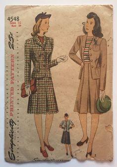 Vtg 1940s Simplicity 4548 Sewing Pattern Misses Jacket Skirt Suit Sz 16 Bust 34  #Simplicity