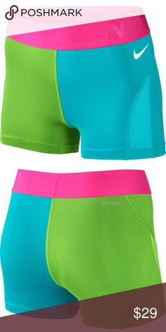 Nike Pro Dri-Fit Shorts Nike dri-fit, hypercool series short shorts. 80% polyester 20% spandex. Great workout shorts with lime green right leg, blue left leg, & neon pink band. So cute for for spring! Never worn. NEW WITH TAGS. *All items come from a smoke free home*  Nike Shorts Nike Shorts, Gym Shorts Womens, Nike Spandex, Nike Green, Short Shorts, Nike Pros, Workout Shorts, Fashion Design, Fashion Tips