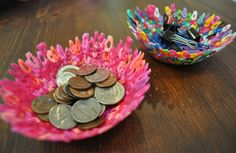 DIY Perler beads bowls - LOVE cool colorful bowls to store little things and we need to use up our stock :).