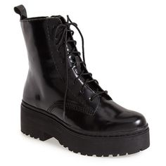 Women's Jeffrey Campbell 'Finnick' Boot ($180) ❤ liked on Polyvore featuring shoes, boots, ankle booties, black, zapatos, ankle boots, black ankle boots, lace up booties, leather ankle boots and black booties