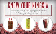 Though NingXia Red, NingXia Nitro™, and NingXia Zyng™ all feature premium wolfberries from China's Ningxia province and have similar names, each carefully formulated product is distinct and can bring something different to your busy day.