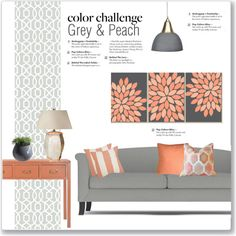 Color Challenge: Grey U0026 Peach By Kellylynne68 On Polyvore Featuring  Interior, Interiors, Interior