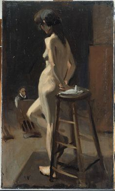 Hopper - Standing Female Nude with Painter in Background. 1904. Whitney Museum of American Art, New York NY.