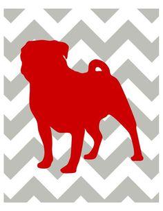 Pug print. so cute!  Red and grey chevron art print $18.00, via Etsy.