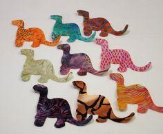Batik Dinosaurs Iron On Appliques by zizzybob on Etsy