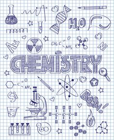 Photo about Vector illustration of Hand drawn chemistry set. Illustration of formula, bulb, pencil - 50195665 Photo about Vector illustration of Hand drawn chemistry set. Illustration of formula, bulb, pencil - 50195665 Chemistry Drawing, Chemistry Art, Doodle Drawings, Doodle Art, Doodle Ideas, Hand Illustration, School Binder Covers, Sketch Note, School Notebooks