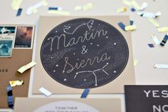 Detail of Sierra and Martin's Celestial wedding invitations by Hello, Gem! Events