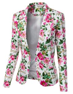 Jtomson - Freedom of Fashion - Womens Trendy Floral Print Blazer Jacket