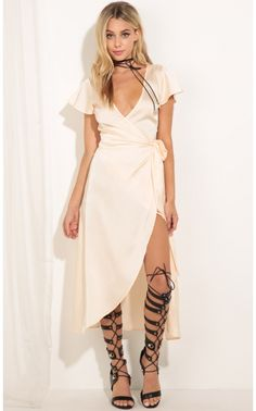 556e61f90a Party dresses   Plunge Satin Wrap Dress In Peach