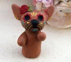 Chihuahua Sugar Skull Polymer Clay Sculpture  Animal by LupaRosa