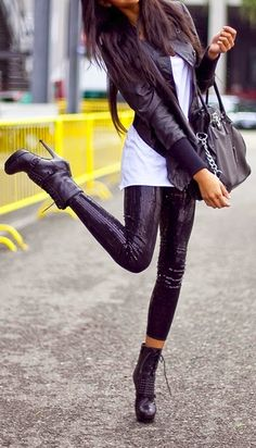 Luv to Look   Curating Fashion & Style: Street styles edgy black leather