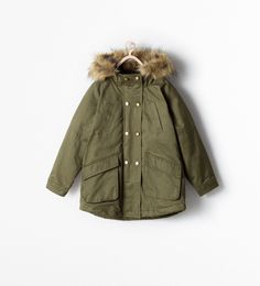 Image 1 of PARKA WITH FUR HOOD from Zara