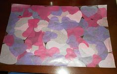 Valentines Placemat for the table, clear sticky paper and tissue paper hearts.  Could do for any holiday or occasion.