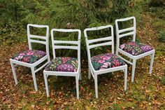 White Dining Chairs Vintage Set 4 1960s Mid Century by kamorka