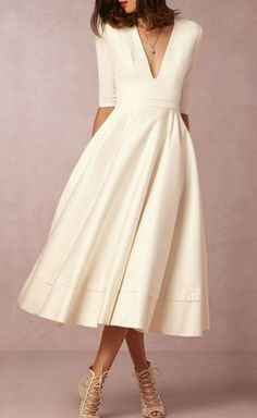 Solid Color V-neck Half Sleeves Evening Dresses - Parties - wedding/bridal gowns - Abendkleid Evening Dresses With Sleeves, Day Dresses, Dresses Online, Wedding Dresses, Long Dresses, Wedding Shoes, Spring Dresses, Ivory Wedding, Cheap Dresses