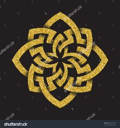 Golden #glittering #logo template in #Celtic knots style on black background. Octagonal symbol. Gold ornament for jewelry design.