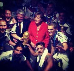 German Chancellor Angela Merkel with the German National Soccer Team
