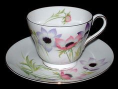 Shelley China Anemone Cup And Saucer Windsor Shape England 1959-1964