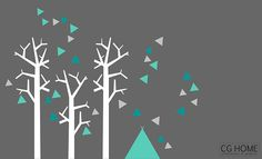 pokój dziecka - naklejki ścienne-TIPI trójkąty drzewa NAKLEJKI zmywalne