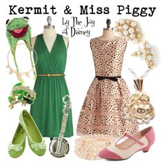 Buy Kermit's look:Dress, $47.99 ; Shoes, $29.99 ; Banjo Pin, $45.99 ; Frog ring, $15.99 ; Necklace, $8.80 ; Kermit hat, $24.95Buy Miss Piggy's look:Dress, $157.99 ; Shoes, $64.99 ; Bracelet, $4.80 ; Miss Piggy necklace, $99 ; Earrings, $11.99Outfits inspired by Kermit the Frog and Miss Piggy from the Muppets!