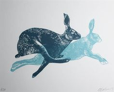 Running friends rabbit is running linocut mounted. - Running friends rabbit is running linocut mounted. Graphic rabbit rabbit linoprint blue artwork by - Running Friends, Ballet Painting, Blue Artwork, Linoprint, Linocut Prints, Woodblock Print, Oeuvre D'art, Stencil, Screen Printing