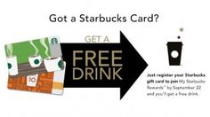 Starbucks Deals: FREE Drink When You Register a Gift Card