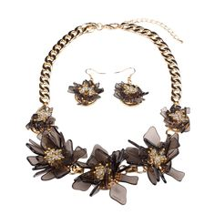 Hamer Womens Black and White Resin Flowers Jewelry Set Statement Necklace and Earrings *** You could discover even more details by visiting the picture link. (This is an affiliate link). Gold C, Resin Flowers, Short Necklace, Statement Jewelry, Types Of Metal, White Flowers, Earring Set, Jewelry Sets, Picture Link