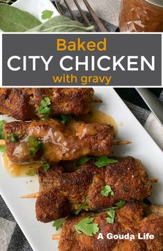 Cubed pork skewered breaded and baked until tender. Serve with mashed potatoes and gravy. This recipe is old fashioned comfort at its finest. Baked Chicken Recipes, Pork Recipes, Cooking Recipes, City Chicken Recipe With Gravy, Turkey Recipes, Chicken Stuffing, Kid Recipes, Family Recipes, Corona